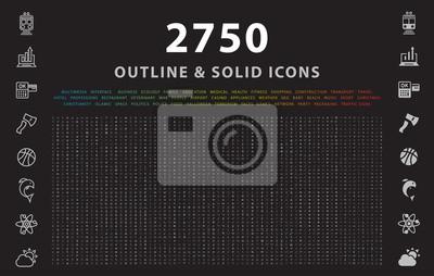 Poster Satz von 2750 umreißen und feste Ikonen auf schwarzem Hintergrund. Vektor isolierte Elemente