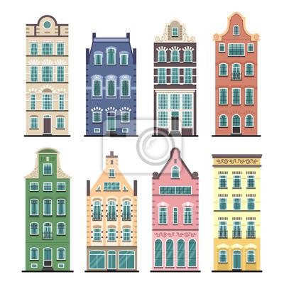 Satz von 8 alten Amsterdam-Karikaturfassaden. Traditionelle Architektur von Niederlande. Bunte flache lokalisierte Illustrationen in der niederländischen Art.