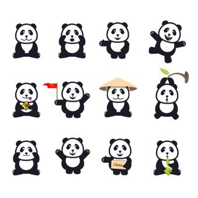 Poster Satz von cute funny Cartoon-Pandas