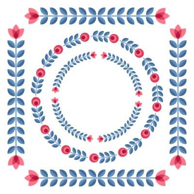 Poster Satz von Designelementen - runde Blumenfelder