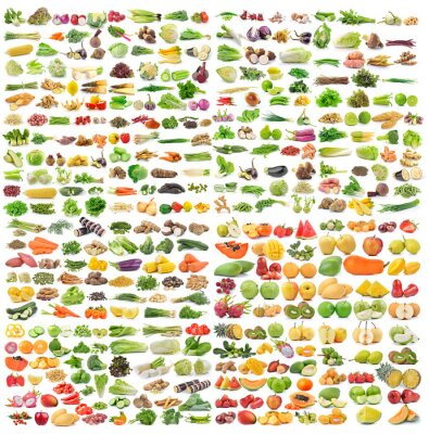 Poster Satz von Gemüse und Obst auf weißem Hintergrund