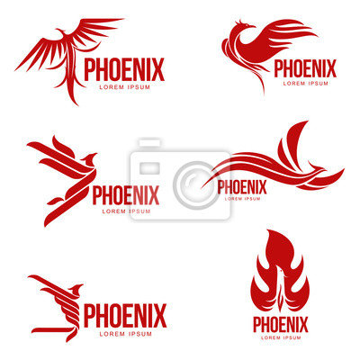 Satz Von Stilisierten Grafik Phoenix Vogel Logo Vorlagen Vektor
