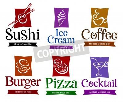 Poster Satz von Vektor-Symbole und Titel für Ihre Speisen und Getränke-Design.