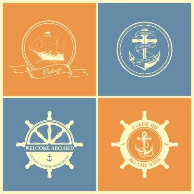 Poster Satz Von Vintage Retro Nautical Abzeichen und Etiketten