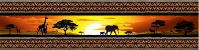 Poster Savana Tramonto Tier -e- Banner Savannah Sunset und Tiere