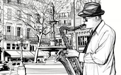 Poster Saxophonspieler in einer Straße von Paris