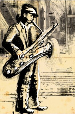 Poster Saxophonspieler (in voller Größe Handzeichnung - original)