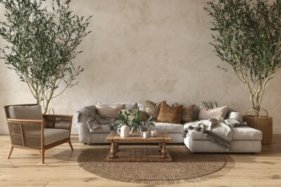 Poster Scandinavian farmhouse style beige living room interior with natural wooden furniture. Mock up wall background. 3d render illustration.