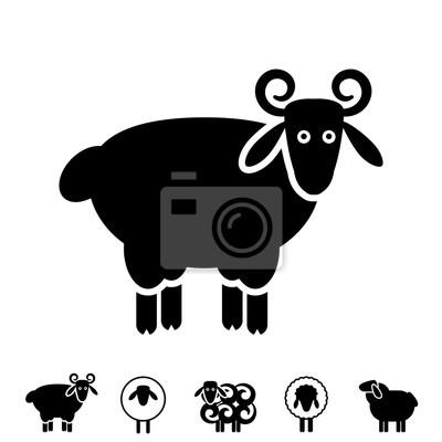 Schaf Oder Ram Icon Logo Schablone Piktogramm Wandposter Poster