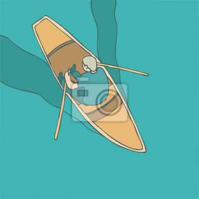 Schiff im Meer, Mann im Boot Vektor-Illustration