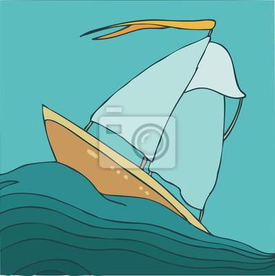 Schiff im Meer Vektor-Illustration