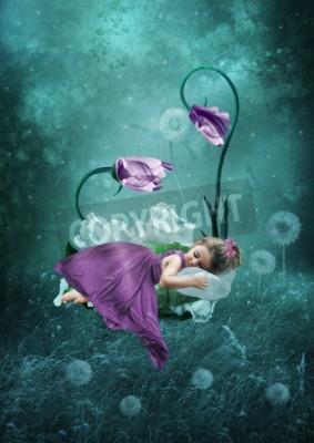 Poster Schlafende kleine Mädchen in magischen Wald