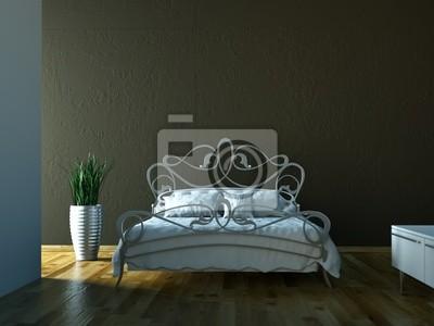 Poster Schlafzimmer   Bett Vor Brauner Wand