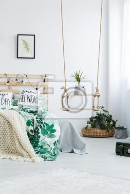 Schlafzimmer mit diy schaukel regal wandposter • poster appartment ...