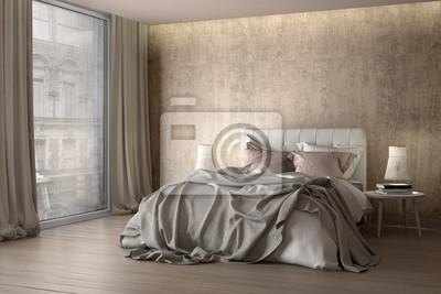 Schlafzimmer Mit Vorhang Wandposter Poster Doppelbett Hotelzimmer