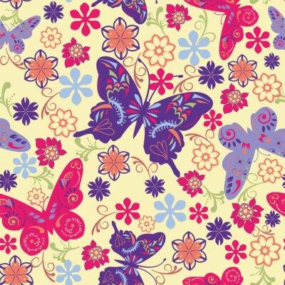 Poster Schmetterling und Blume Seamless Pattern - Illustration
