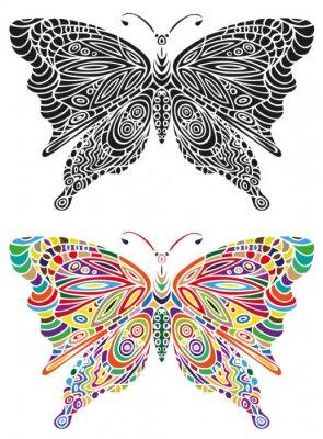 Poster Schmetterlingsverzierung Farbe und Schwarzes