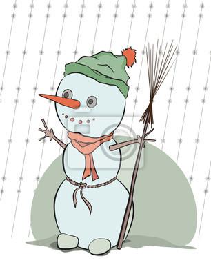 Poster Schneemann, Vektor-Illustration für Weihnachten-Design