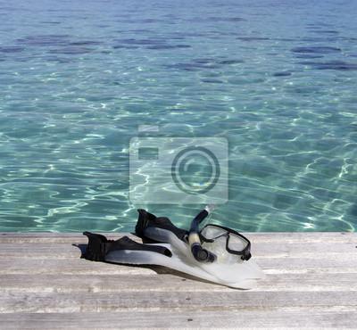 Schnorchelausrüstung und Lagune