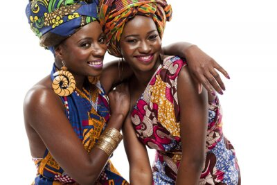 Poster Schöne afrikanische Mode modesl in traditioneller Kleidung.