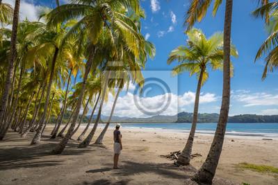 Schöne blauer Himmel Tag mit einem blauen Meer und leeren Sand. Playa Samara, Costa Rica, Mittelamerika.