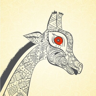 Poster Schöne erwachsene Giraffe. Hand gezeichnet Illustration der ornamentalen Giraffe.