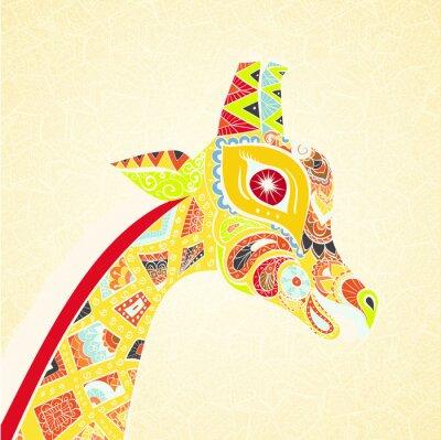 Poster Schöne erwachsene Giraffe. Hand gezeichnet Illustration der ornamentalen Giraffe. Farbige Giraffe auf ornamentalen Hintergrund.