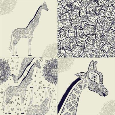 Poster Schöne erwachsene Giraffe. Hand gezeichnet Illustration der ornamentalen Giraffe. Isoliert Giraffe auf weißem Hintergrund. Nahtlose Muster von einer ornamentalen Giraffe