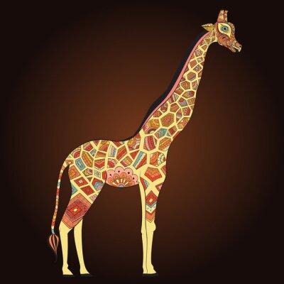 Poster Schöne erwachsene Giraffe in boho. Hand gezeichnet Illustration der ornamentalen Giraffe. Farbige Giraffe auf ornamentalen Hintergrund.