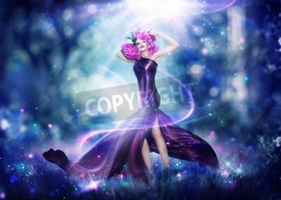 Poster Schöne Fantasie-Feefrau, Art und Weisekunstportrait