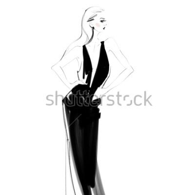 Poster Schöne Frau in schwarzem Kleid lokalisierter Zeichnung. Junges Mädchen des Zaubers Modeskizze.
