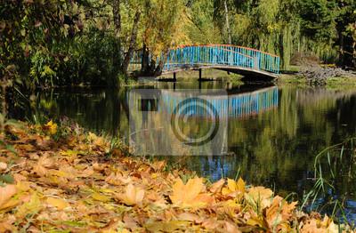 Schöne Landschaft mit einer Brücke in der Herbst-Park