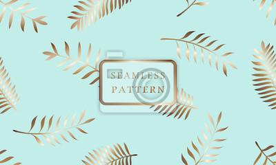 Poster Schöne nahtlose Vektor modischen abstrakten tropischen Blumenmuster Hintergrund mit Gold Palmblättern Auf einem blauen, türkisfarbenen Hintergrund. Baum Zweig des Dschungels. Exotische Blätter von Haw