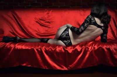 Poster Schöne und sexy junge Frau in erotischen Dessous und Strümpfe