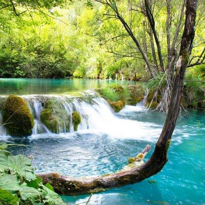 schöne waterfals der Plitvicer See