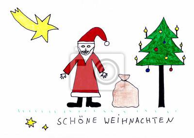 Weihnachten Kinder.Poster Schöne Weihnachten Kinder Zeichnung Mit Weihnachtsmann Tannenbaum