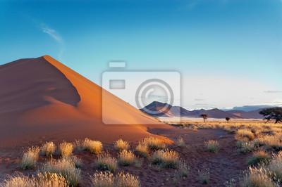 Poster Schöner Sonnenuntergang Dünen Namib Wüste, Sossusvlei, Namibia