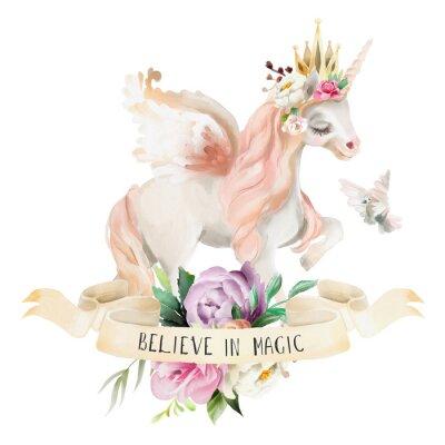 Poster Schönes, nettes, träumendes Einhorn des Aquarells, Pegasus mit Blumen, goldene Krone, Blumenstrauß, Taube und Band mit dem qoute lokalisiert auf Weiß