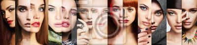 Poster Schönheit Collage.Faces of women.Makeup