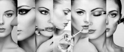 Poster Schönheit Collage. Gesichter der Frauen. Art und Weisefoto. Make-up-Künstler gilt Lippenstift und Lidschatten. Frau Anwendung Parfüm