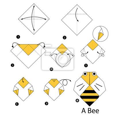 Schritt Für Schritt Anleitung Wie Man Origami Biene Wandposter