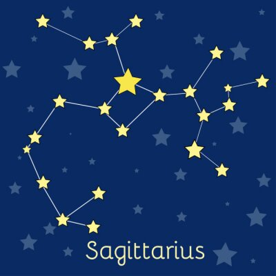 Poster Schütze Feuer Tierkreis-Konstellation mit Sternen im Kosmos. Vector Abbildung