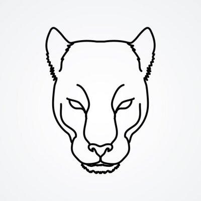 Schwarz panther kopf umriss grafik-vektor. wandposter • poster ...