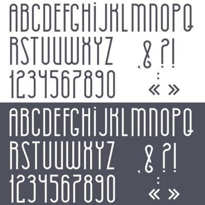Poster Schwarz-Weiß-Alphabet, Zahlen und Satzzeichen