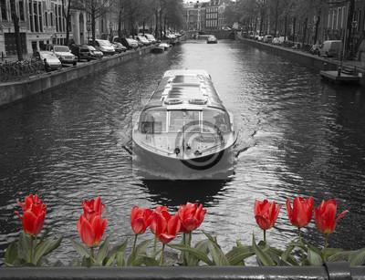 Schwarz-Weiß-Bild von einem Amsterdam-Kanal mit roten Tulpen