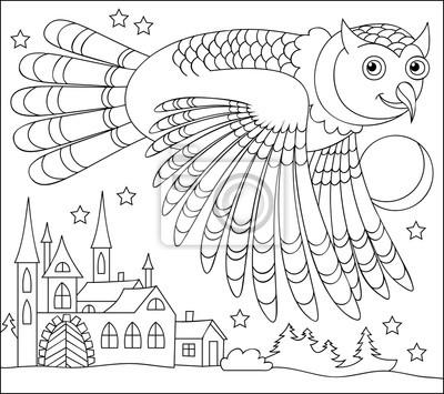 Schwarz-weiß-seite zum färben. zeichnung der eule fliegen in ...
