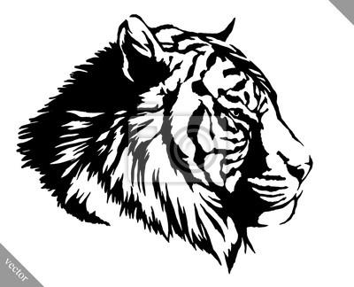 Schwarz Weiß Tinte Zeichnen Tiger Vektor Illustration Wandposter