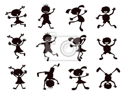 schwarze Silhouette Cartoon Kinder