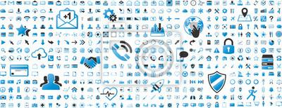 Poster Schwarze und blaue Web-Business-Technologie-Icons gesetzt