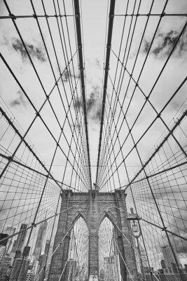 Poster Schwarzweiss-Bild der Brooklyn-Brücke, New York City, USA.
